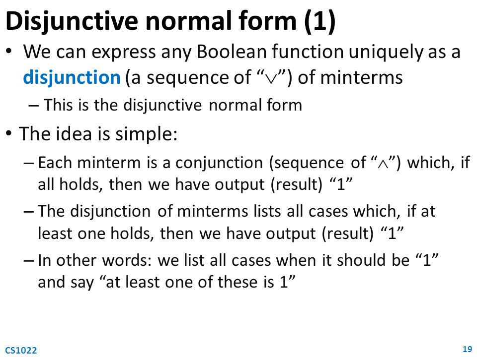 Disjunctive normal form (1)