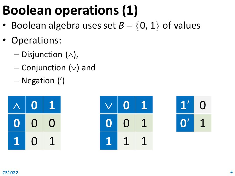 Boolean operations (1)  1  1 1 0 1