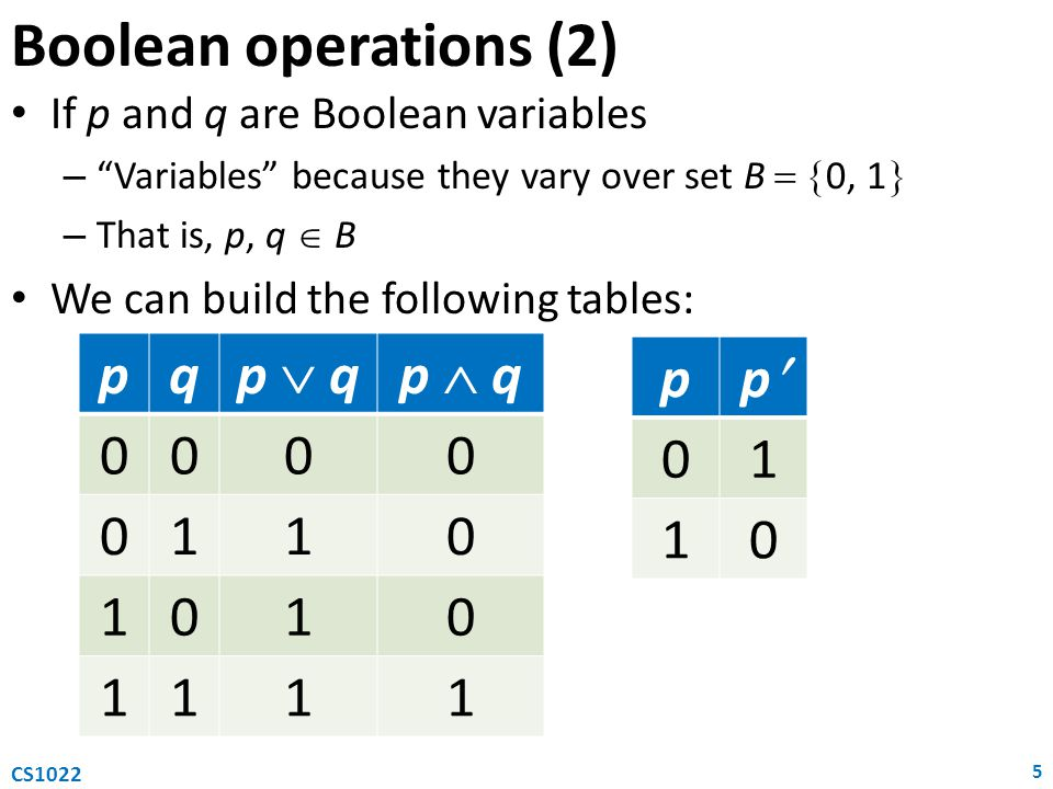 Boolean operations (2) p q p  q p  q 1 p p 1