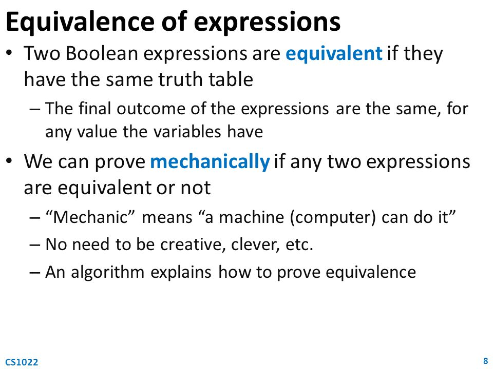 Equivalence of expressions