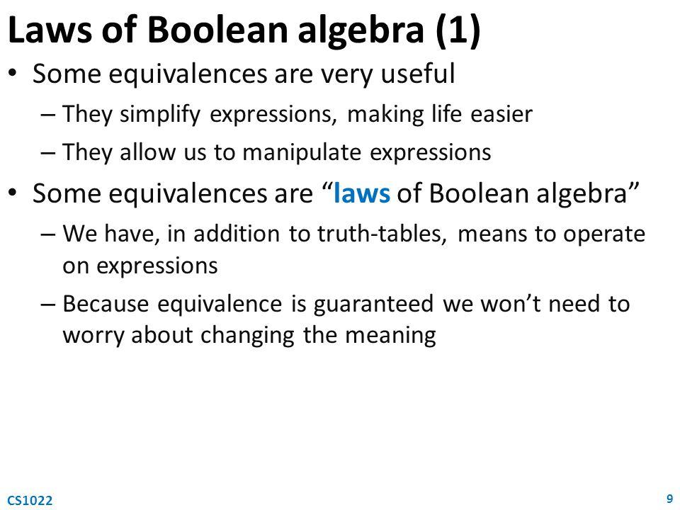 Laws of Boolean algebra (1)