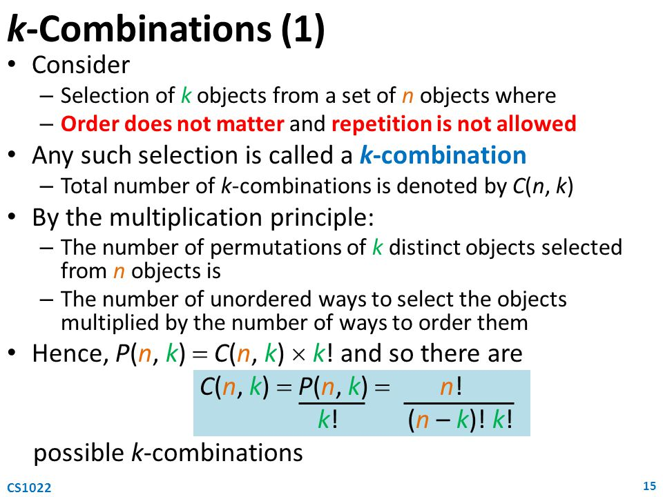 k-Combinations (1) Consider