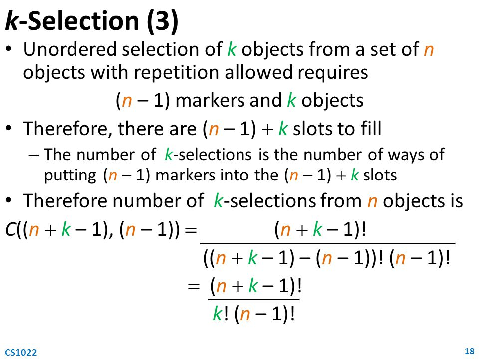 (n – 1) markers and k objects