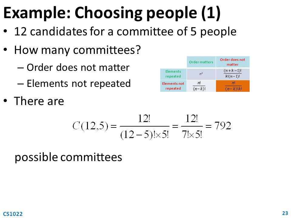 Example: Choosing people (1)