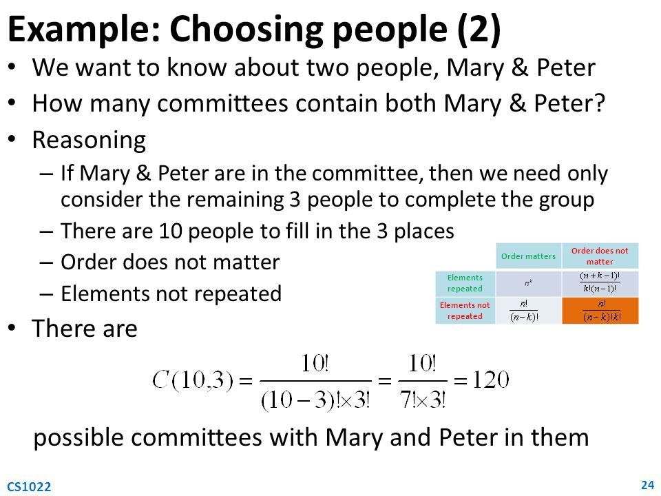 Example: Choosing people (2)