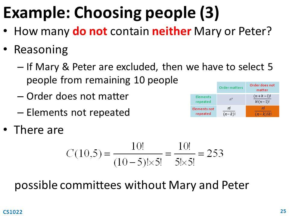Example: Choosing people (3)