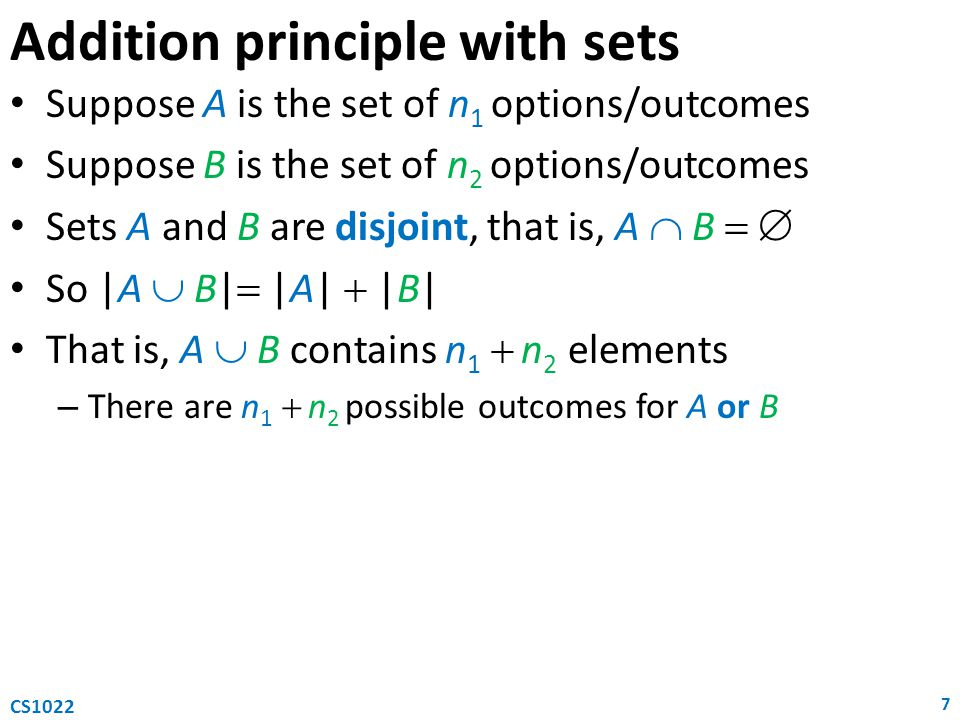 Addition principle with sets