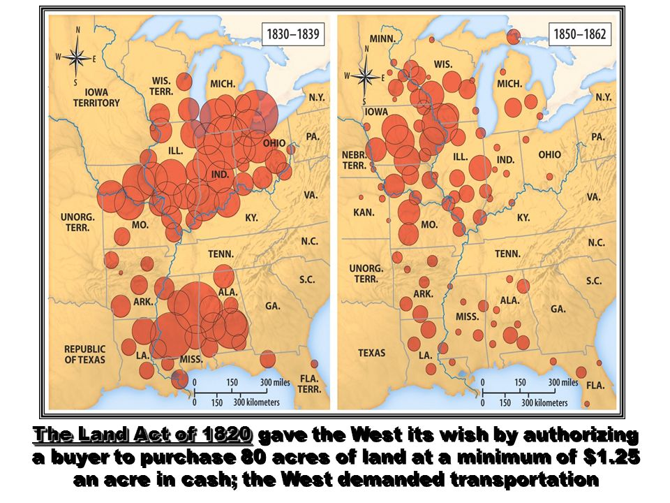 The Land Act of 1820 gave the West its wish by authorizing a buyer to purchase 80 acres of land at a minimum of $1.25 an acre in cash; the West demanded transportation