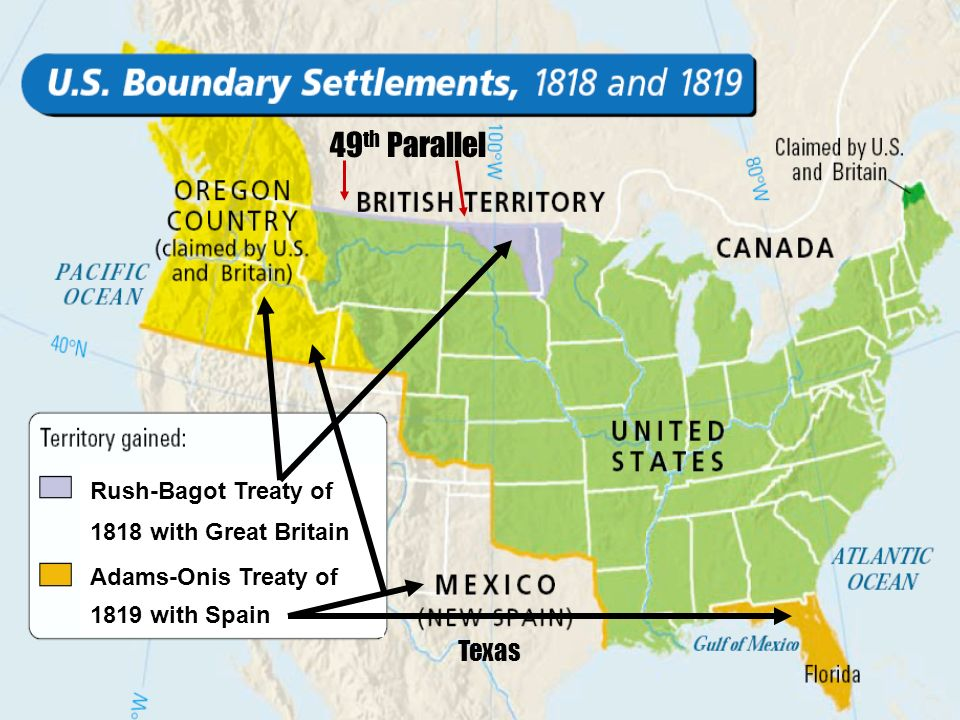 49th Parallel Texas Rush-Bagot Treaty of 1818 with Great Britain