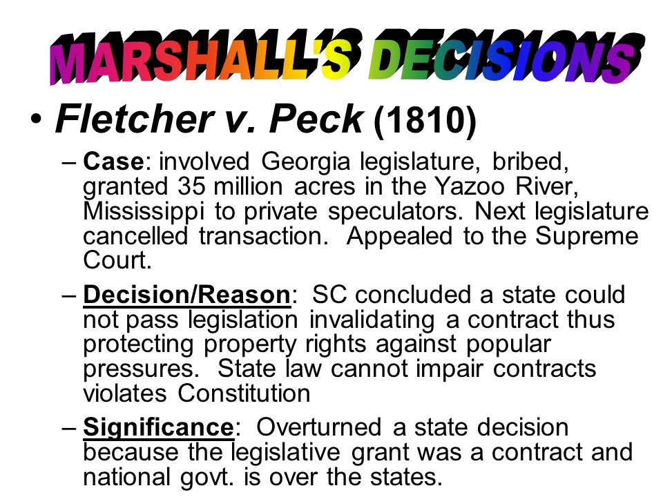 Fletcher v. Peck (1810) MARSHALL S DECISIONS