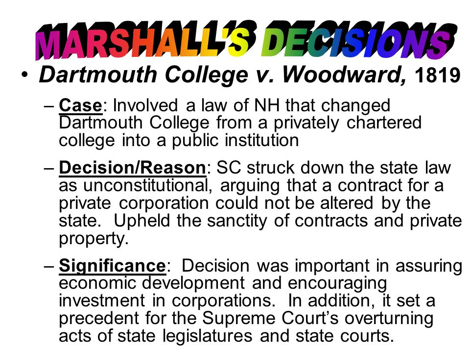Dartmouth College v. Woodward, 1819