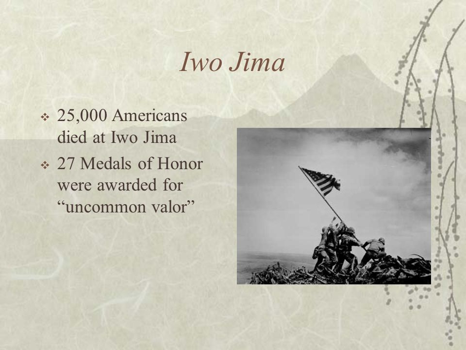 Iwo Jima 25,000 Americans died at Iwo Jima