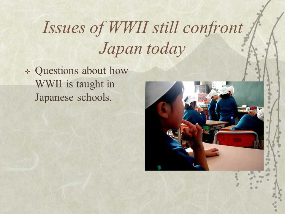 Issues of WWII still confront Japan today