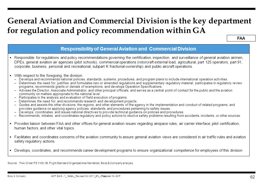 Responsibility of General Aviation and Commercial Division