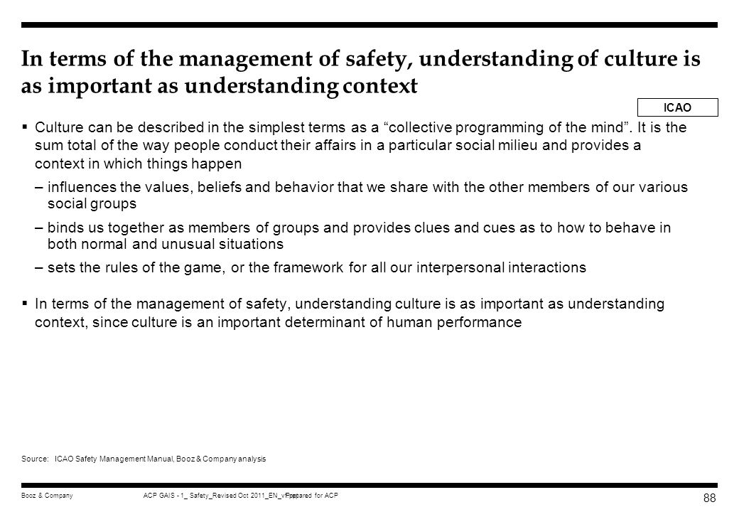 In terms of the management of safety, understanding of culture is as important as understanding context