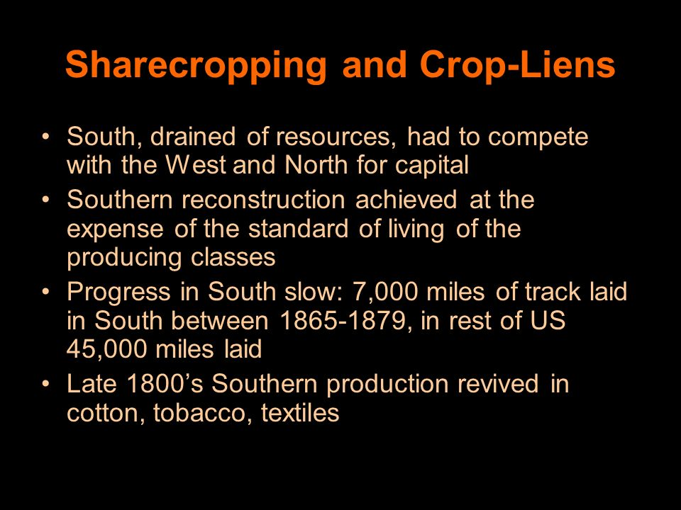 Sharecropping and Crop-Liens