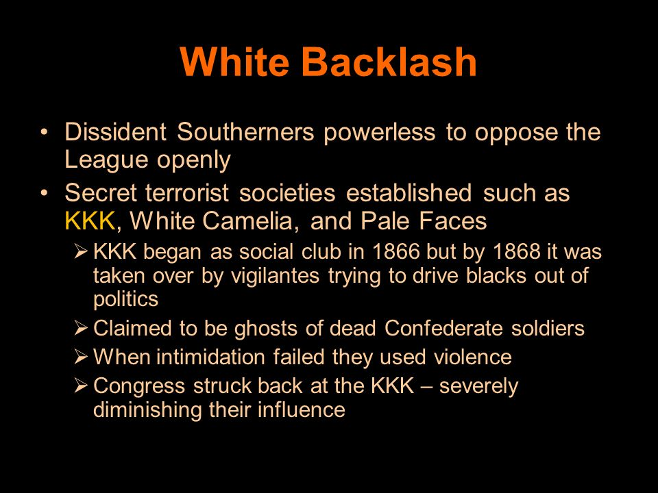 White Backlash Dissident Southerners powerless to oppose the League openly.