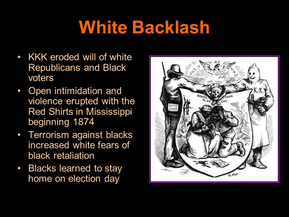 White Backlash KKK eroded will of white Republicans and Black voters
