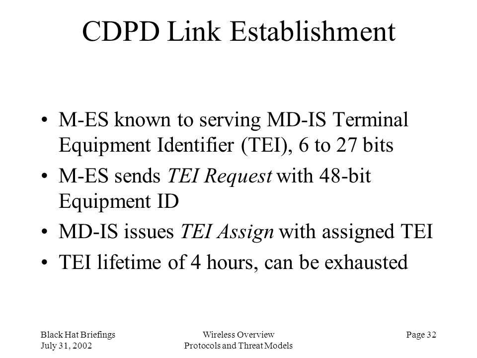 CDPD Link Establishment