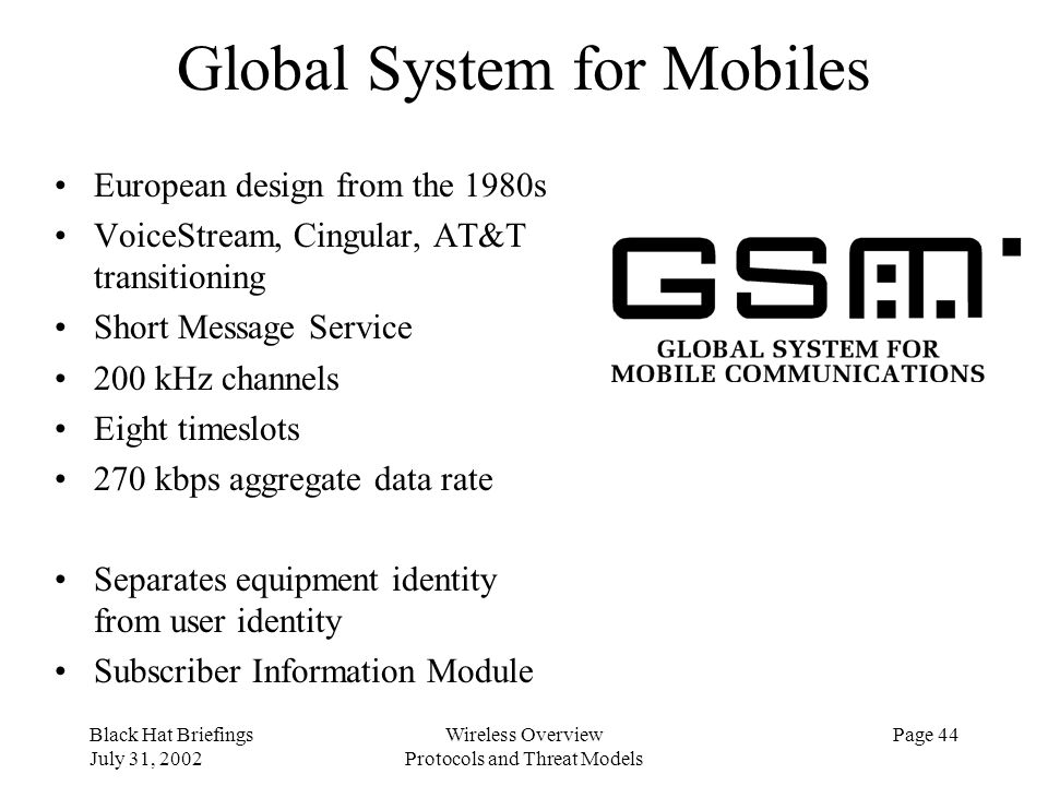 Global System for Mobiles