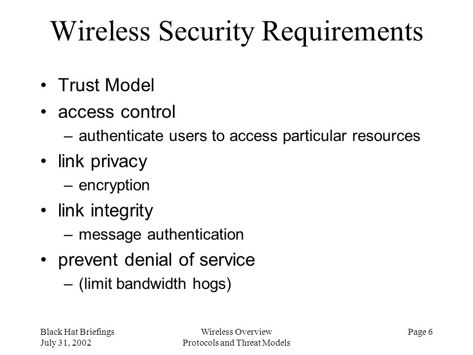 Wireless Security Requirements