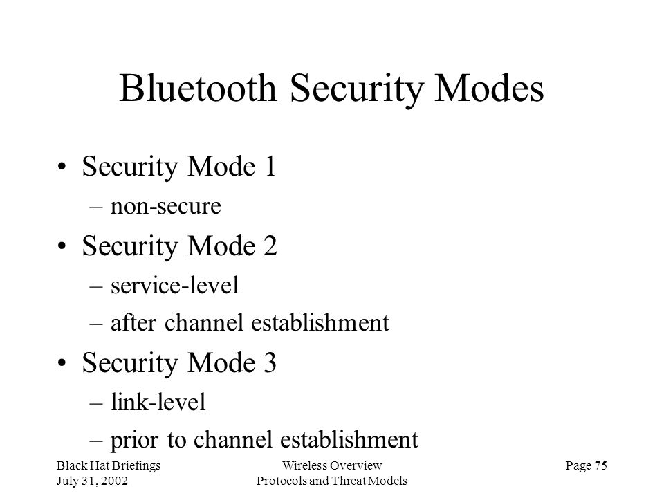 Bluetooth Security Modes