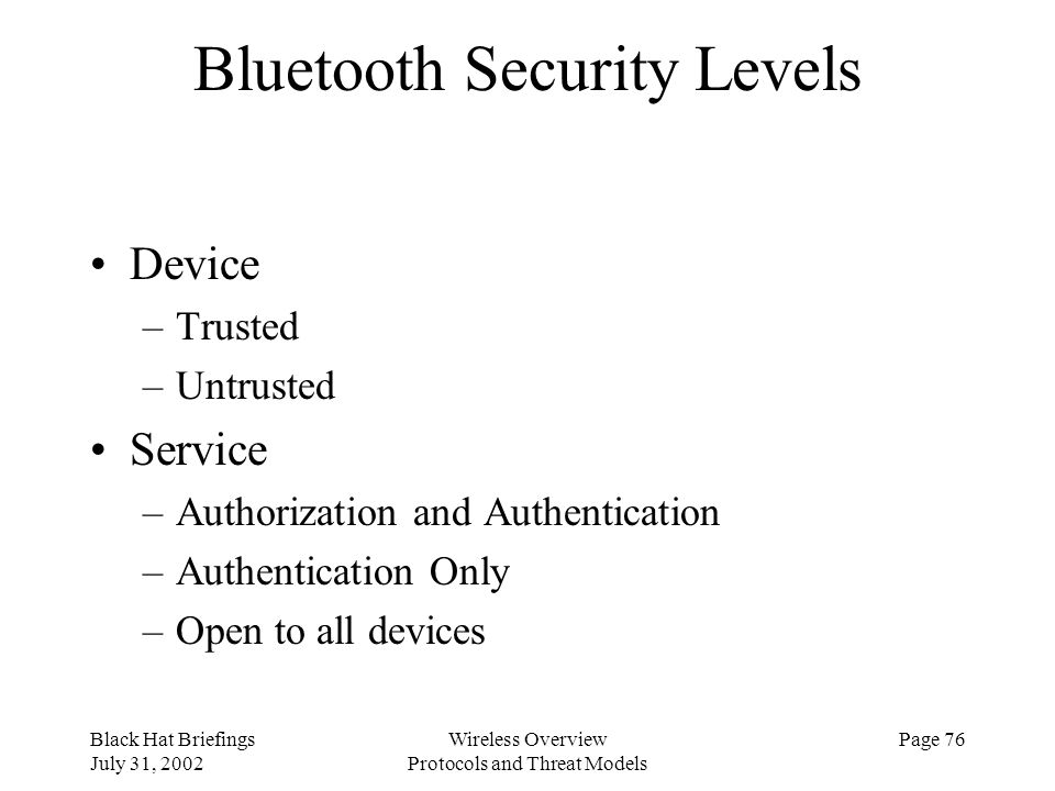 Bluetooth Security Levels