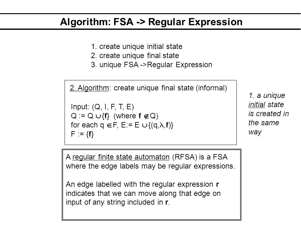Algorithm: FSA -> Regular Expression