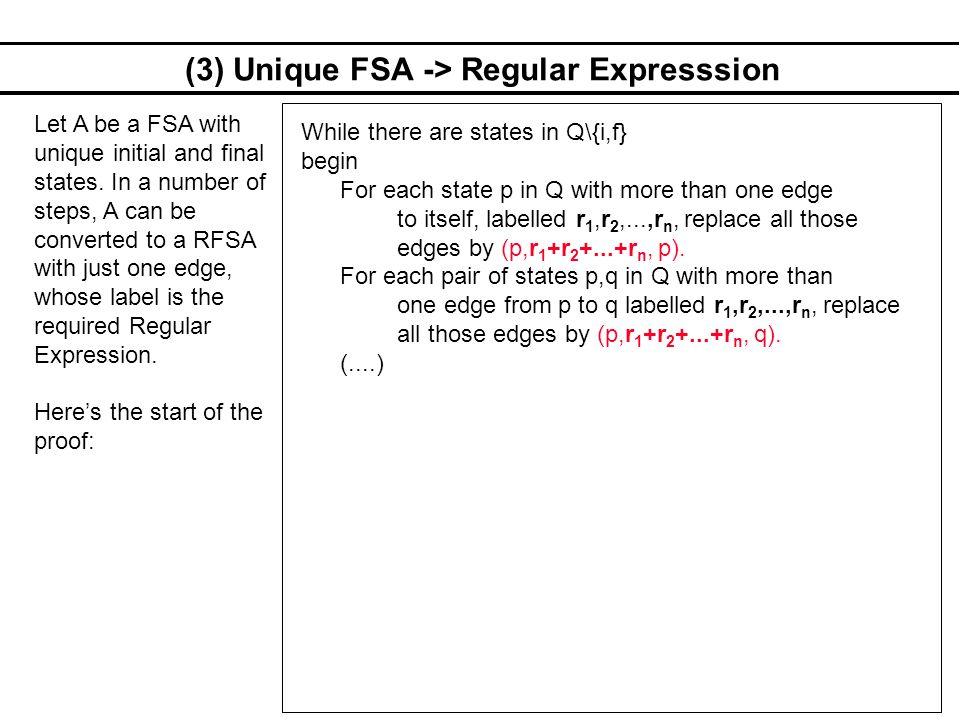 (3) Unique FSA -> Regular Expresssion