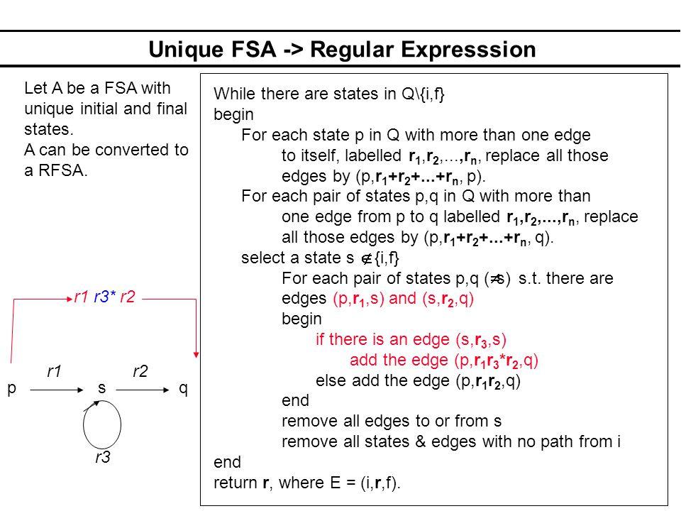 Unique FSA -> Regular Expresssion
