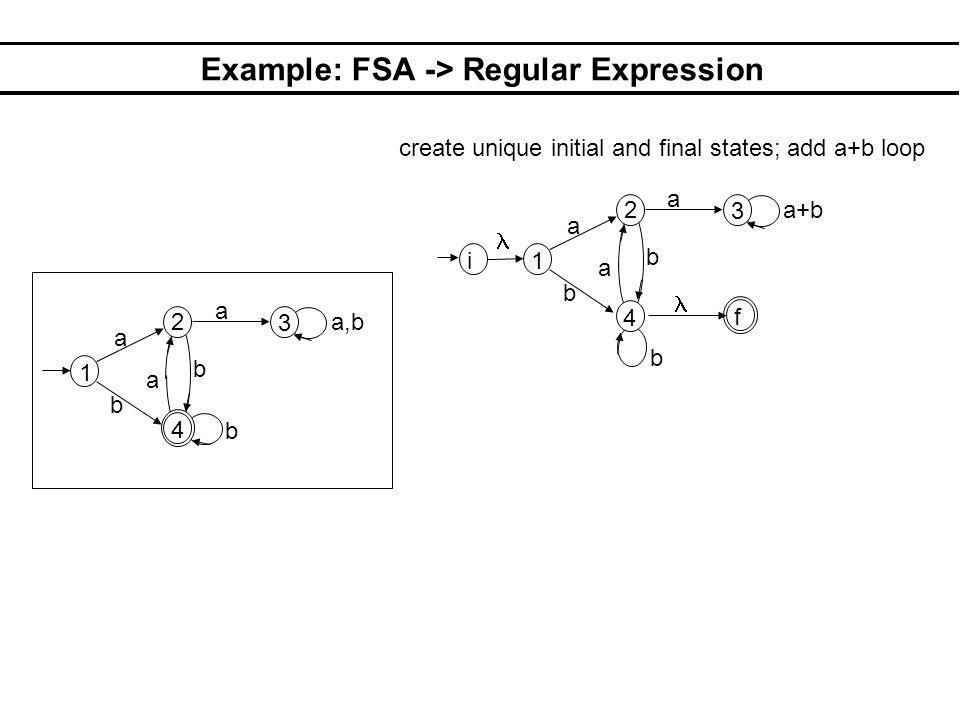Example: FSA -> Regular Expression