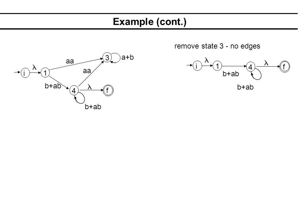 Example (cont.) remove state 3 - no edges 3 a+b aa l l l i 1 4 f aa i