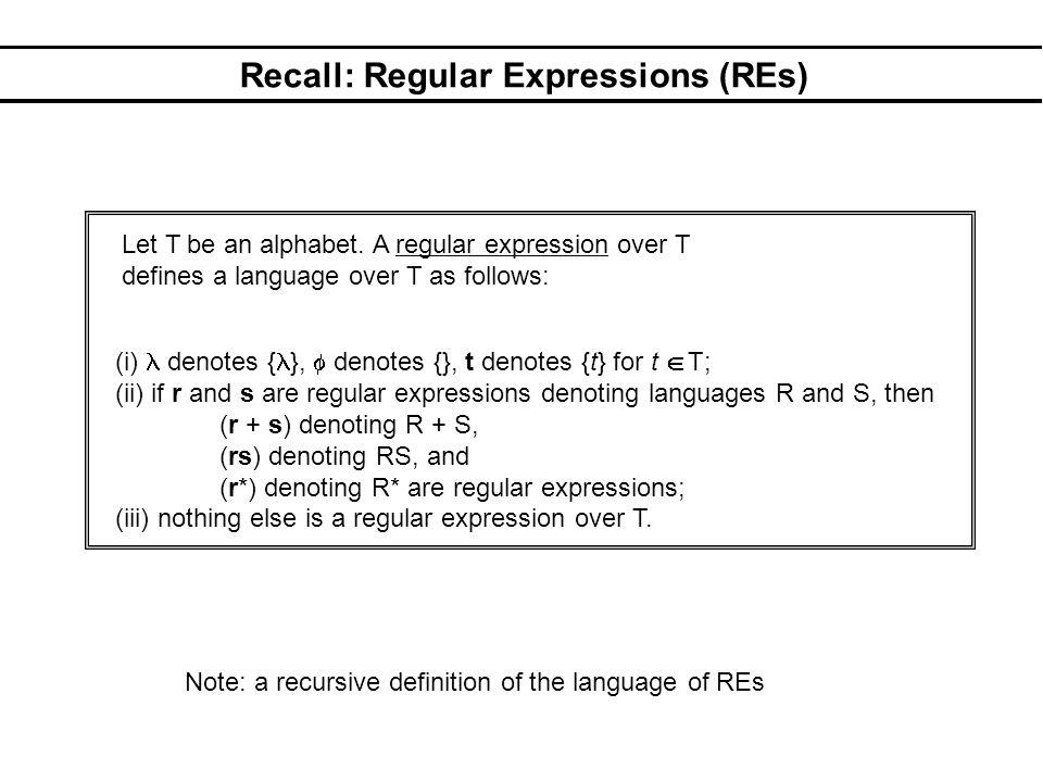 Recall: Regular Expressions (REs)