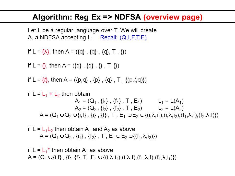 Algorithm: Reg Ex => NDFSA (overview page)