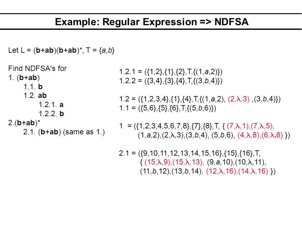 Example: Regular Expression => NDFSA