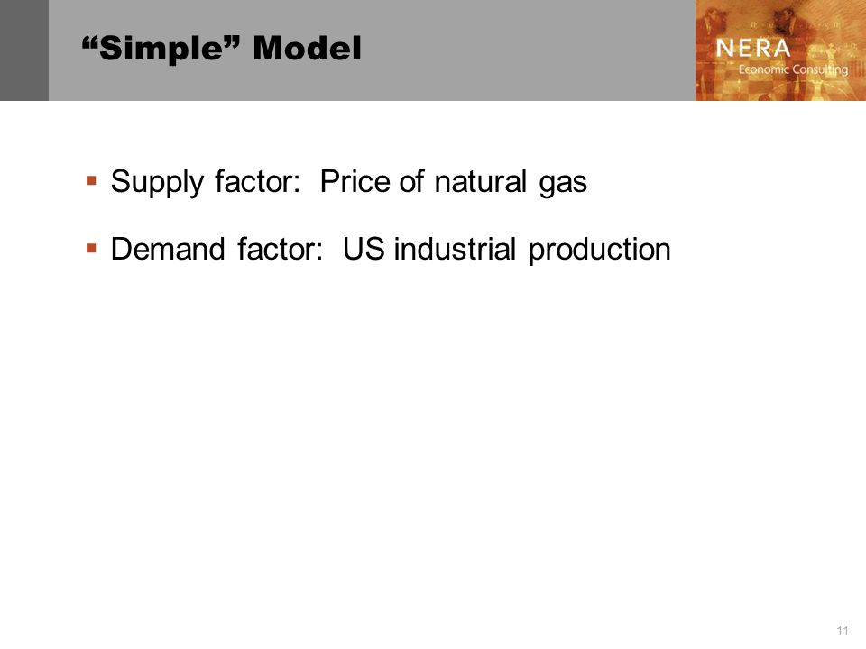 Simple Model Supply factor: Price of natural gas