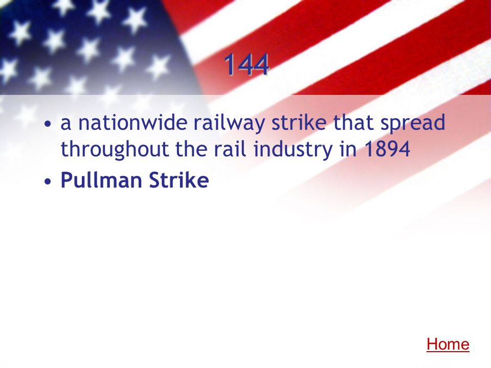 144a nationwide railway strike that spread throughout the rail industry in 1894.