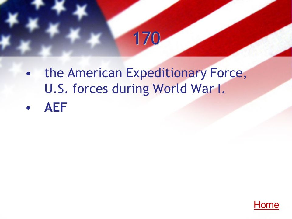 170 the American Expeditionary Force, U.S. forces during World War I.