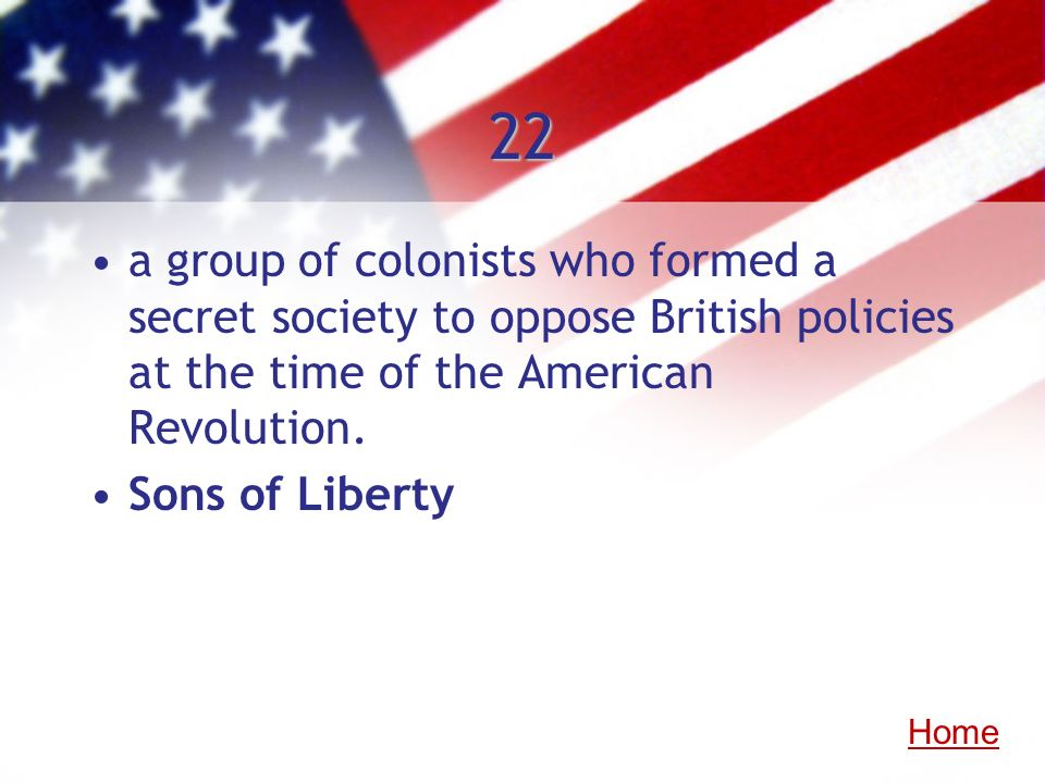 22 a group of colonists who formed a secret society to oppose British policies at the time of the American Revolution.