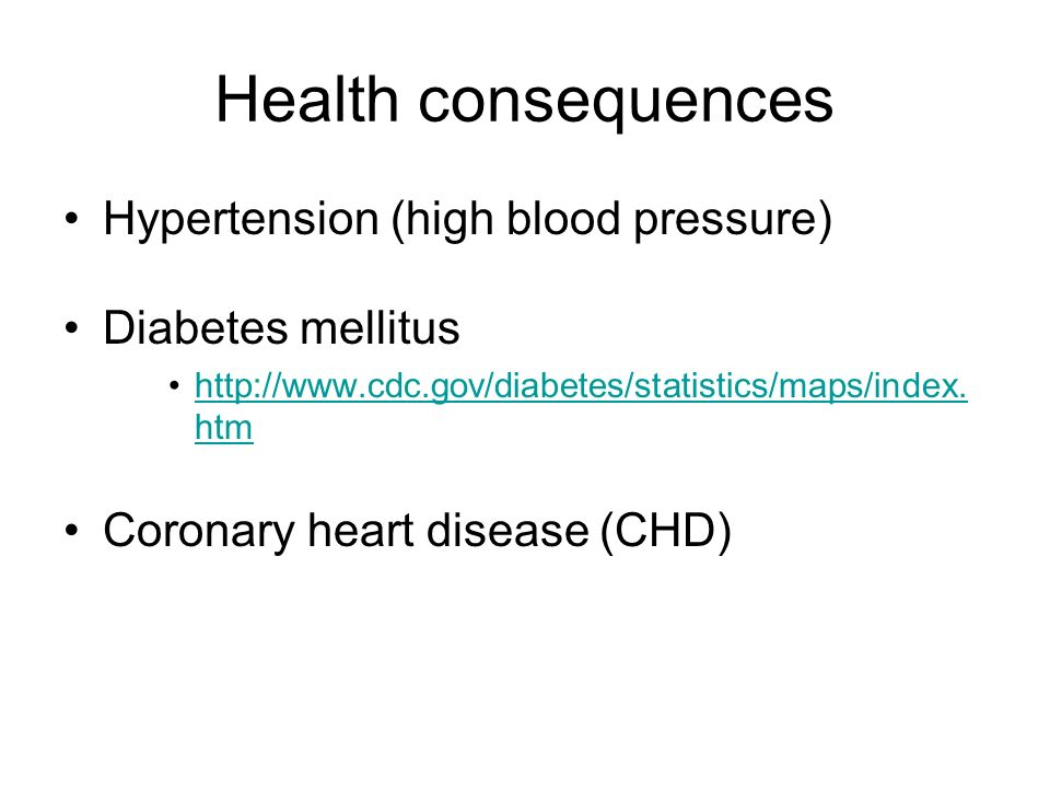 Health consequences Hypertension (high blood pressure)