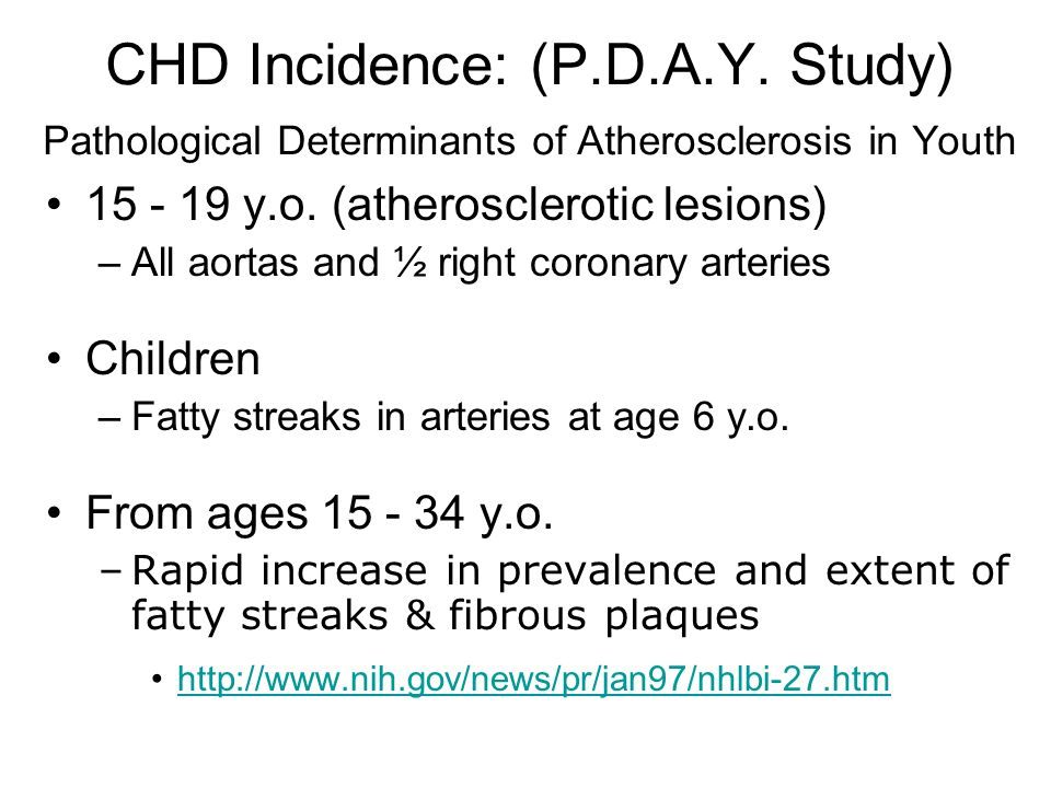 CHD Incidence: (P.D.A.Y. Study) Pathological Determinants of Atherosclerosis in Youth