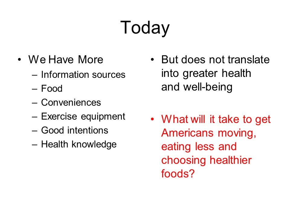 TodayWe Have More. Information sources. Food. Conveniences. Exercise equipment. Good intentions. Health knowledge.