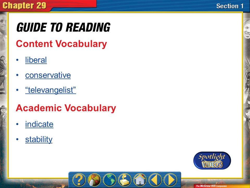 Content Vocabulary Academic Vocabulary liberal conservative