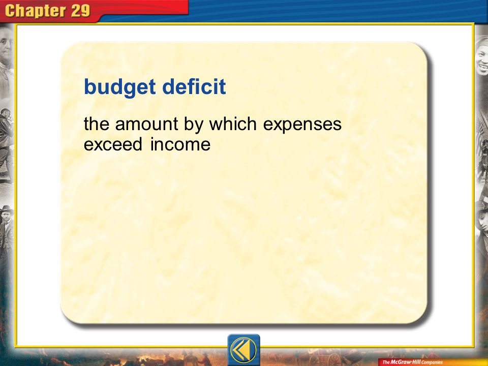 budget deficit the amount by which expenses exceed income Vocab7