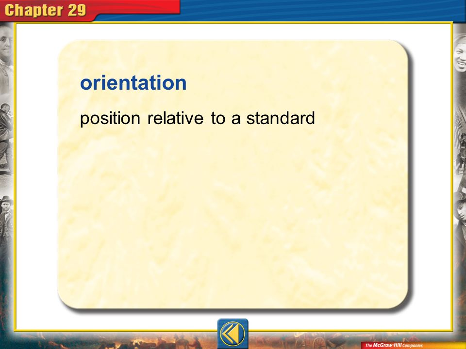 orientation position relative to a standard Vocab14