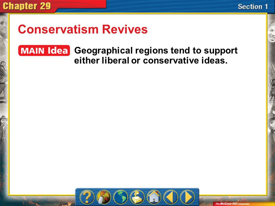 Conservatism Revives Geographical regions tend to support either liberal or conservative ideas.