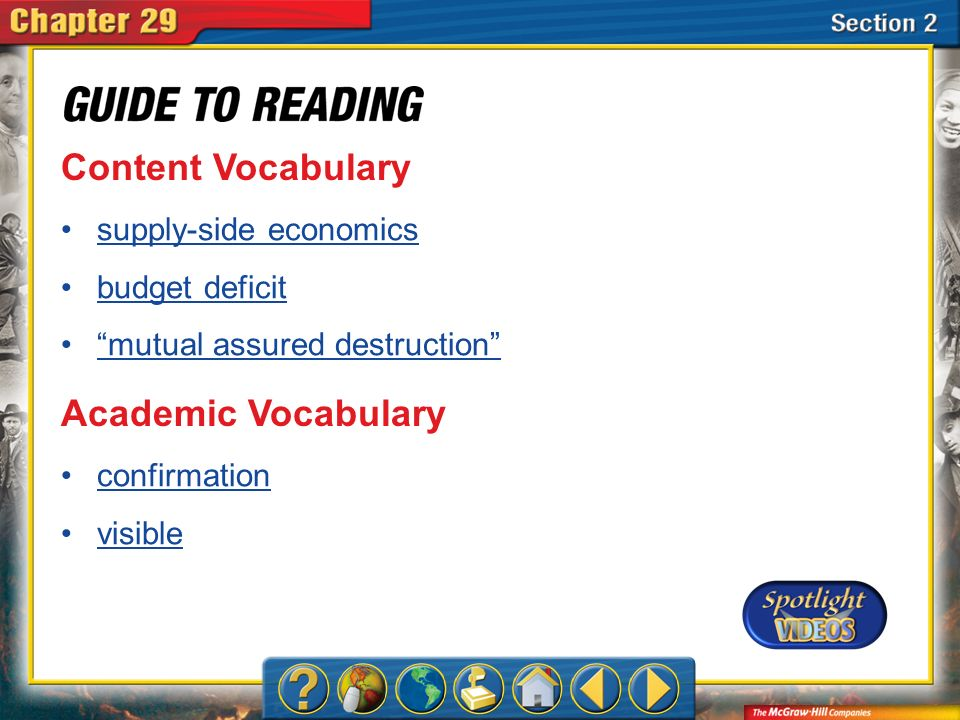 Content Vocabulary Academic Vocabulary supply-side economics