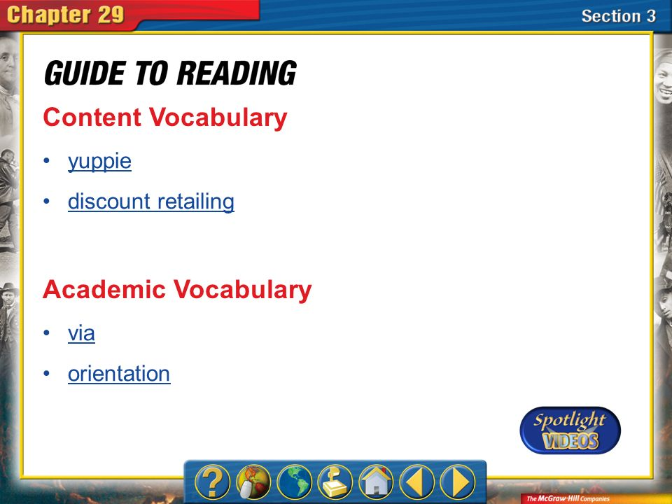 Content Vocabulary Academic Vocabulary yuppie discount retailing via
