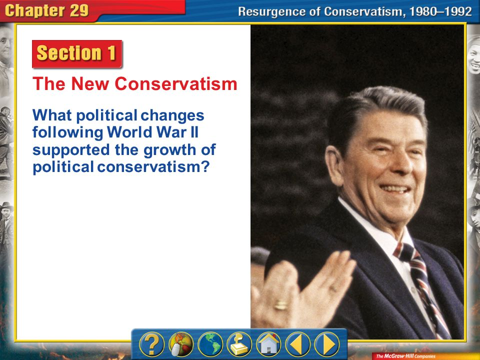 The New Conservatism What political changes following World War II supported the growth of political conservatism