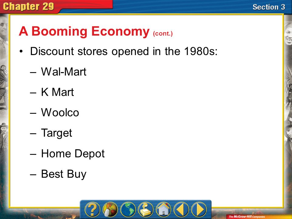 A Booming Economy (cont.)